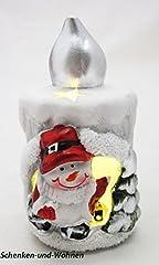 Idea Regalo - SIGRO 3Motivi Assortiti Candele a LED con Babbo Natale, Pupazzo di Neve e Renne, 7x 6, 5x 11cm, Bianco/Argento