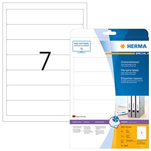 Herma 4825 Tintenstrahldrucker Ordnerrücken Etiketten schmal/kurz (192 x 38 mm) 175 Ordneretiketten, 25 Blatt DIN A4 Papier matt, weiß, bedruckbar, selbstklebend -