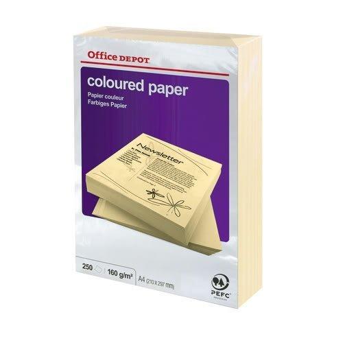 Office Depot Farbiger Kopierkarton DIN A4 160 g/m² Pastell Cream 250 Blatt (Office Depot Memo)