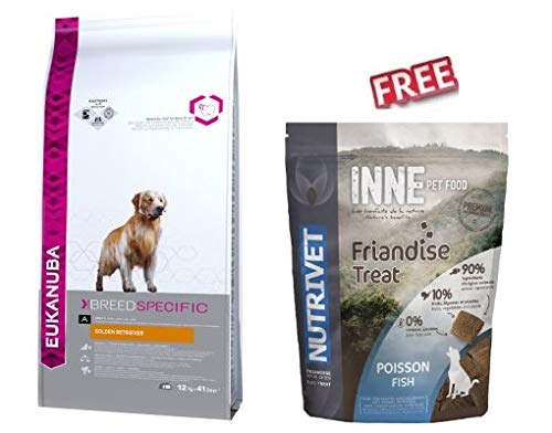 Eukanuba Dog Food for Golden Retriever Adult For Healthy Mobile Joints and Glossy Coat 12kg with Antioxidants FREE Nutrivet Inne Dog Treats Fish