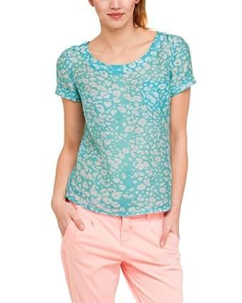 Comma CI Damen Bluse Regular Fit, Tierdruck 88.304.12.2865 BLUSE KURZARM, Gr. 40 (L), Mehrfarbig (66A7 blue green AOP)