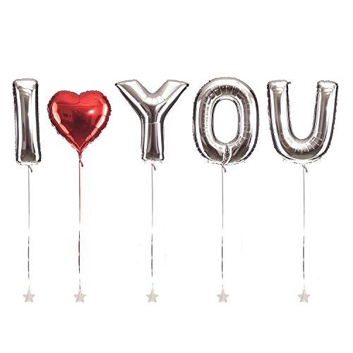 Preisvergleich Produktbild XXL Riesenballons I LOVE YOU - 100cm - für Hochzeit, Valentinstag, Verlobung & Co - Geschenk Liebe Standesamt Dekoration Folienballon Luftballon Silber - PARTYMARTY GMBH®