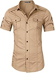 Kuulee Men's Tactical Cargo Work Shirt Military Casual Slim Fit Short Sleeve Shirts