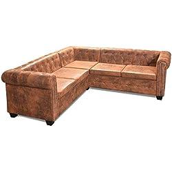 Festnight Chesterfield Ecksofa Sofa 5-Sitzer-Ecksofa Wohnzimmersofa Couch Loungesofa Kunstlederpolsterung 205 x 205 x 73 cm Braun