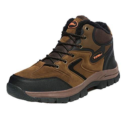 Scarpe da Montagna Uomo Scarponcini da Trekking Traspirante Escursionismo Antiscivolo Arrampicata Invia Calze Marrone 45 EU