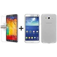 TBOC® Pack: Funda de Gel TPU Transparente + Protector Pantalla Vidrio Templado para Samsung Galaxy Core 2 G355h. Funda de Silicona Ultrafina y Flexible. Protector de pantalla Resistente a Golpes, Caídas y Arañazos.