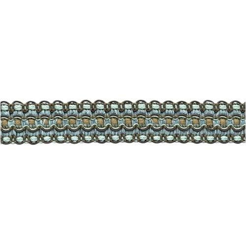 DecoPro VNT34 Flechtbordüre, 5,5 m, 25 mm breit, Spa-Blau, Mokka Braun, Schokoladenbraun -