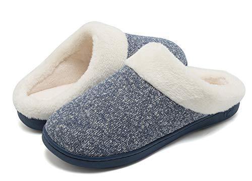 VIFUUR Damen Comfort Memory Foam Frauen Hausschuhe Kurzes Plüschfutter Rutschfeste Sohle Slip On Hausschuhe Indoor Outdoor Blau 36/37