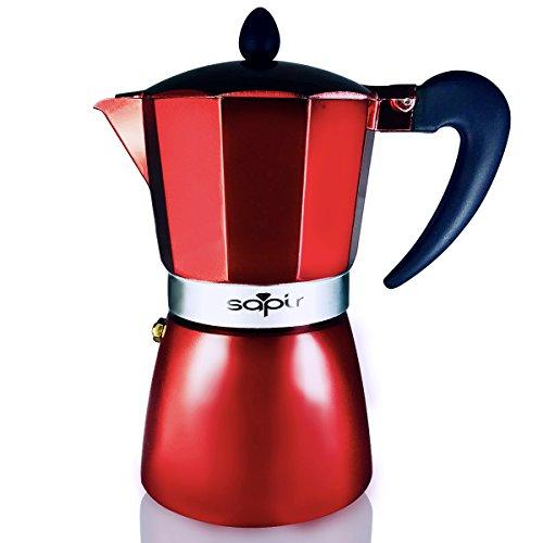 SAPIR Italienisch Aluminium Espressokocher 6 Tassen/300 ml, Aluminum, Rot
