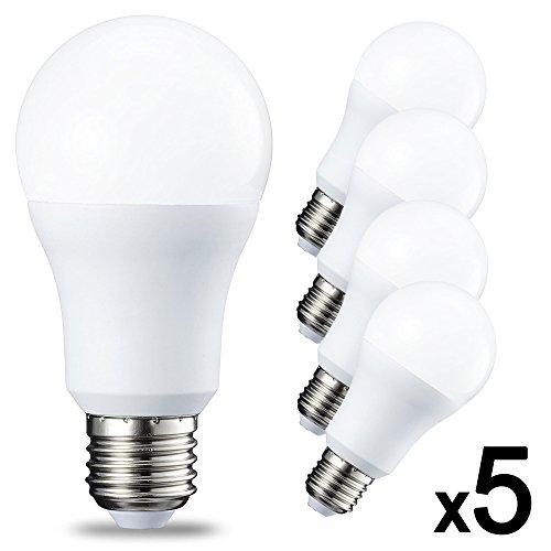 Lot x5 Ampoules LED puissant culot E27 9W Blanc froid TechBox - Equivalence incandescence 70W avec culot à vis