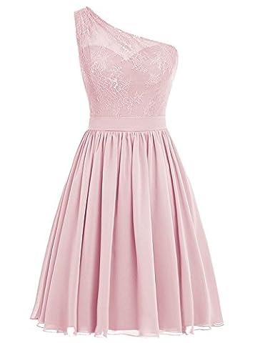 BetterGirl Chiffon eine Schulter Brautjunferkleider kurz mit Spitze Promkleider Abendkleid -Erröten-48