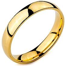 MunkiMix Ancho 4mm Acero Inoxidable Anillo Ring Banda Venda Oro Dorado Alianzas Boda Hombre,Mujer