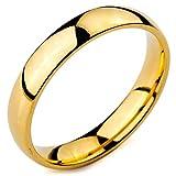 MunkiMix Breite 4mm Edelstahl Ring Band Golden Ton Hochzeit Größe 65 (20.7) Herren,Damen
