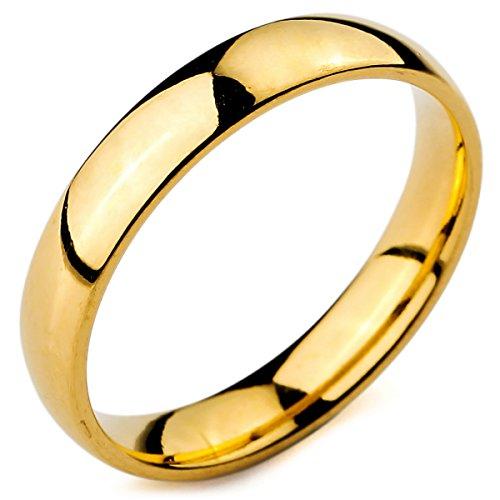 de229b3f8d76 MunkiMix Ancho 4mm Acero Inoxidable Anillo Ring Banda Venda Oro Dorado Tono.