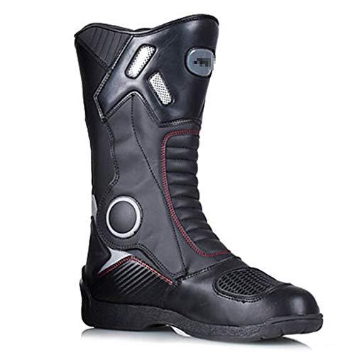 WERT Stivali da Moto da Uomo Impermeabili da Corsa con Protezione corazzata Stivali da Moto su Strada Stivaletti Lunghi e Confortevoli,Black-45