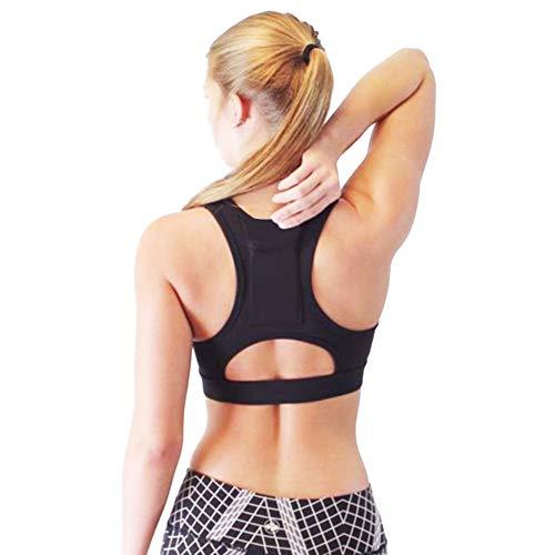 Yvelands Damen Yoga-BH Einteiler Sport-BH atmungsaktiv Fitness 1/2 BH Yoga-BH mit Tasche(Schwarz,M) (Indische Wolf Mädchen Kostüm)