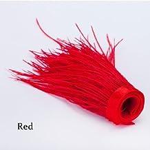 Neotrims Luxueux haute Fashion fourrure en plumes d'autruche véritable Coupe Frange,, en finition ignifuge, avec Superbe couleur 12Options, Brights et Naturals, 9–12cm Longueur de ruban en satin., Polyester, rouge, 25cms (¼mt)