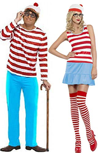 Ist Kostüm Wally Wenda Wo - Fancy Me Paar Kombination Damen und Herren Wo Ist Wally Wenda Cartoon Buch 1980's 80'S Kostüm Verkleidung Outfit - Mehrfarbig, Mehrfarbig, Ladies UK 4-6 & Mens Large