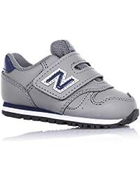 NEW BALANCE - Zapatilla deportiva gris, en cuero y tela, con velcro, logo lateral y posterior, Niño, Niños