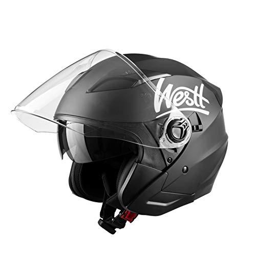 Westt Jet Casco Moto Abierto Negro Mate Doble Visera