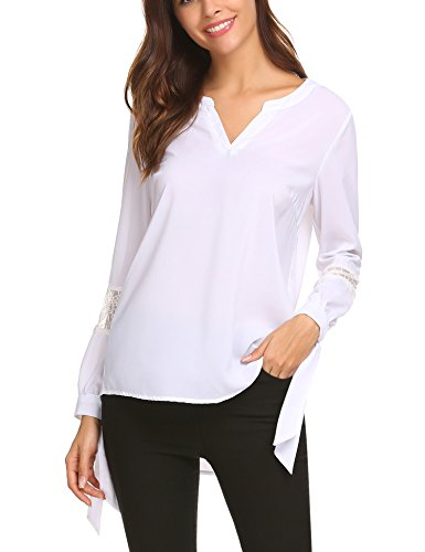 Beyove Damen Chiffon Bluse mit Spitze Langarm Blusenshirt Loose T Shirt Hemd Tunika Oberteil Tops Schwarz