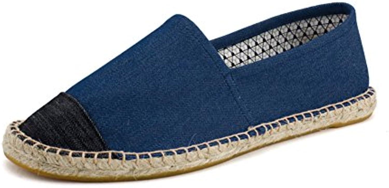 Lona Zapatillas Casuales para Hombre Lino Espadrilles Azul Oscuro Alpargatas  -