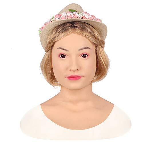 PINGJIA Realistische Latex Masken Schönheit Vollgesichtsmaske Weibliche Silikon Maske Verkleidung Sexy Cosplay Requisiten,Ivorywhite