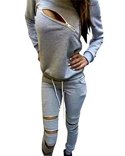 Donna casual Cerniera Maglie a manica lunga Pantaloni Sportivo Jogging Tute da ginnastica Grigio chiaro