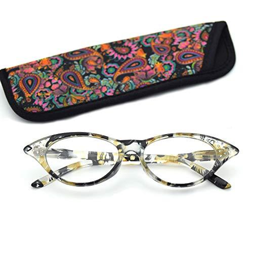 D&XQX Womens Floral Strass Cat Eye Lesebrille Designer maßgeschneiderte Stärken Leichte tragbare Full Frame Lesebrille,Yellow,+2.50