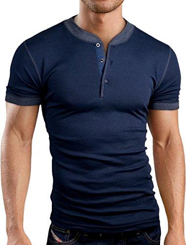 Grin&Bear Slim Fit Henley T-Shirt, GB145 kurzarm/navy