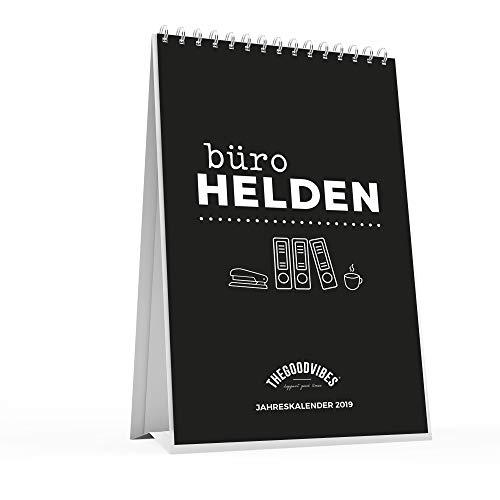 """Tischkalender 2019""""BÜROHELDEN"""" von THEGOODVIBES - Sprüche Kalender, Jahreskalender Für Den Schreibtisch - Ideal Für Büro, Zuhause Oder Als Geschenk - Made In Germany - A5 Zum Aufstellen"""