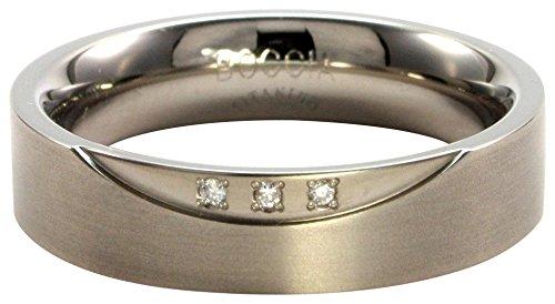 Boccia Damen-Ring Titan mattiert Diamant (0.045 ct) weiß Brillantschliff Gr. 63 (20.1) - 0138-0263