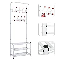 Hallway Multi-purpose Metal Clothes Stand, Coat Hook Shoe Storage
