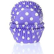 Muffinförmchen, lila mit weißen Punkten, 50 Stück - Papierbackförmchen