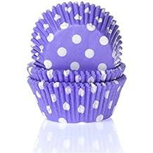 Moules à muffin-mauve/blanc-lot de 50 caissettes en papier pour muffins