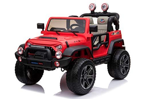 Mondial Toys Auto ELETTRICA 12V per Bambini 2 POSTI Maxi Fuoristrada con Telecomando 2.4G Soft Start AMMORTIZZATORI Ruote in Gomma Full Optional Rosso