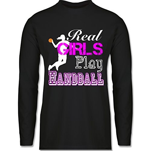 Handball - Real Girls Play Handball weiß - Longsleeve / langärmeliges T-Shirt für Herren Schwarz