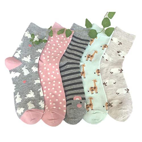 Frauen Cute Cartoon Socken, Stillshine - Casual Baumwolle Tier Muster Crew Neuheit Mädchen Socken 5 Paar Pack (Stil 4)