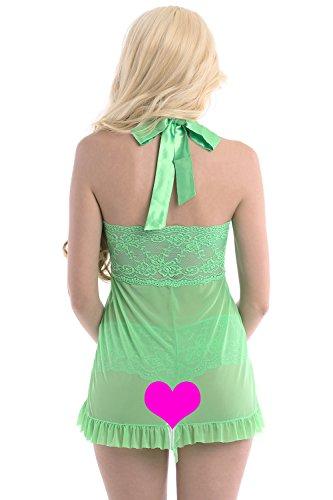 Aivelays Damen Reizwäsche Negligee Dessous Wäsche Nachtkleid Spitze Lingerie Unterwäsche Set Nachtwäsche Kleid Set Green