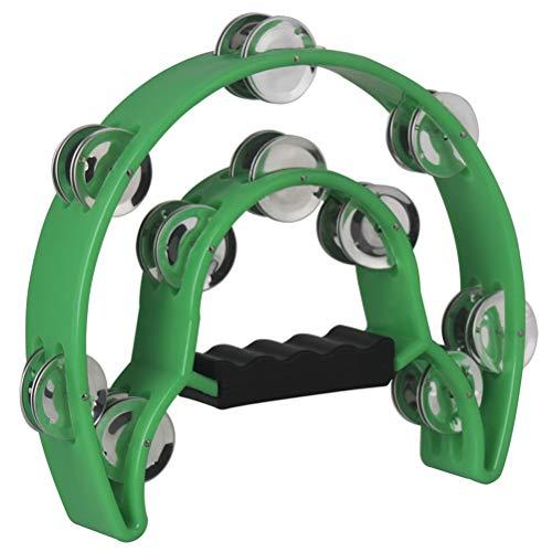 Healifty Hand Tambourin Halbmond Form Doppelter Schellenring Schellentrommel Schellenkranz Musikinstrumente (grün)
