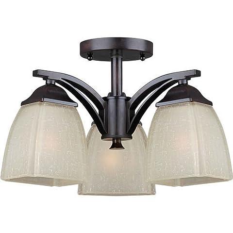 Forte Lighting 2189-03-32 Transitional 3-Light Semi-Flush with Umber Linen Glass, Antique Bronze Finish by Forte Lighting
