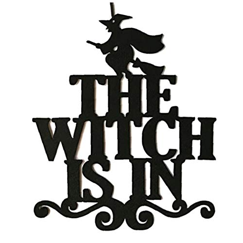 AMOYER Die Hexe Ist In Halloween Hängeschild Tür Hängen Dekor Halloween Dekoration (Halloween Dekor Tür)