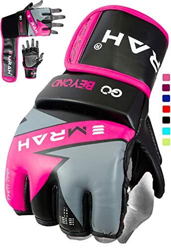 EMRAH Nitron V2.0 MMA Handschuhe MMA Gloves Grappling Kampfsport Sparring Boxsack Kampfhandschuhe Training (Rosa, Groß)