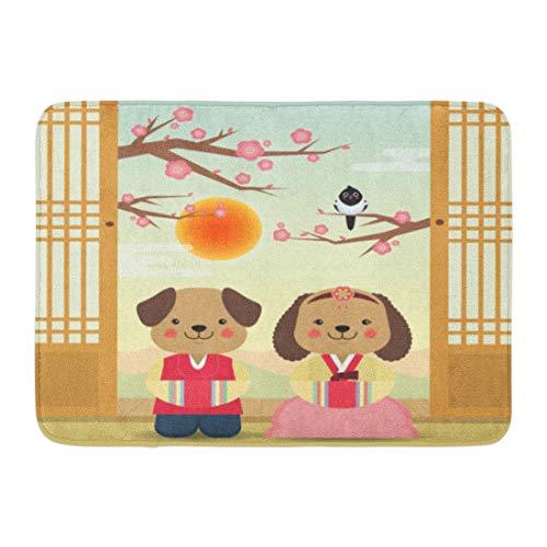 Kostüm Niedlichen Hunde Tragen - Badematte Koreanisches Jahr Seollal Gruß niedlichen Cartoon Hunde Kostüm Kirschblüten Bäume Elster Badezimmer Dekor Teppich tragen