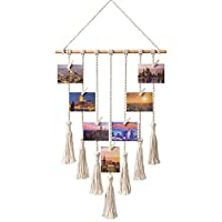 "Hanging Photo Displays Macrame Wall Hanging Picture Organizer with 25 Wood Clips Boho Hone Decor for Home, Living Room, Bedroom, Best, Ivory White, 42.5"" L×17"" W"