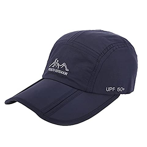 Pingenaneer Outdoor Quick Dry Collapsible Baseball Cap / Foldable Waterproof UPF50+ Protect Sun Hat Unisex