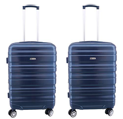 Lot de 2 valises Extensible Worldline 64 x 43 x 25(30) cm ABS & Polycarbonate 4 roulettes Serrure TSA (Marine)