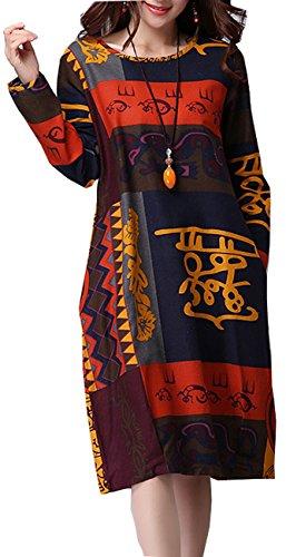ELLAZHU Women Fashion New Color-Block Long Sleeves Loose Dress SJ44 XXL