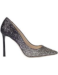 Jimmy Choo Mujer ROMY100KPXLIGHTMOCHABLACK Plata/Negro Purpurina Zapatos Altos