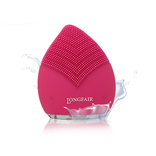 longfair–elettrico spazzola per la pulizia del viso | Anti Aging Pore detergente in silicone | SPAZZOLA facciale, Detergente Viso e Massaggiatore | SONIC Vibration per tutti i tipi di pelle | impermeabile | Rosa